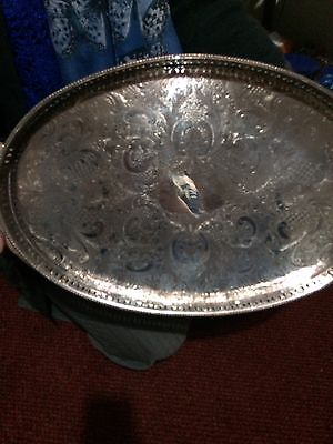 Large Vintage Gallery Tray (Sheffield) (Silver Plate )