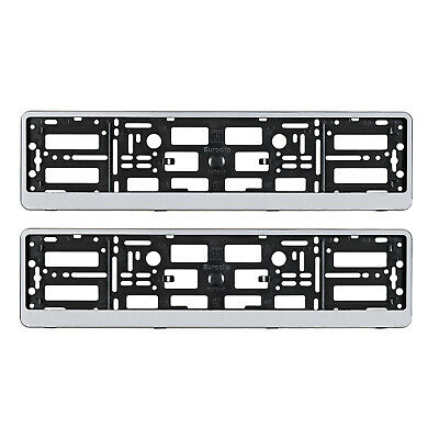 2x NEW VW SILVER NUMBER PLATE SURROUNDS HOLDER FRAME FOR ANY VOLKSWAGEN CARS VAN