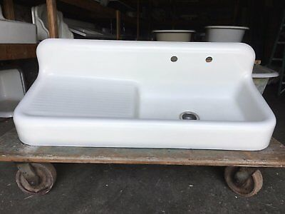 "Antique Cast Iron White Porcelain 52"" Kitchen Farm Sink Old Vtg Kohler 248-17E"