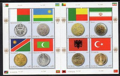 UN Geneva MNH 2008 Flags and Coins M/S