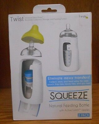 Kiinde Twist - Squeeze Natural Feeding Bottle with Nipples, 2 Piece