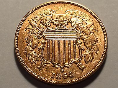 1864 Two Cent Piece  * BU Red *