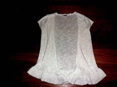 JUSTICE White Shimmer/Sparkle Short Sleeve Open Front Long Cardigan Sweater 14