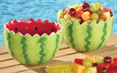 Outdoor Dinning Watermelon Looking Shaped Ceramic Serving Bowls - Set of 2