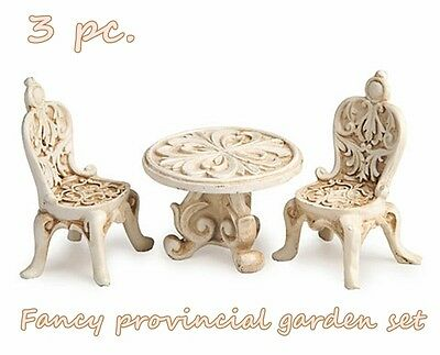 MINIATURE 3 pc. RESIN FANCY PROVINCIAL IVORY TABLE & 2 CHAIRS SET FAIRY GARDEN