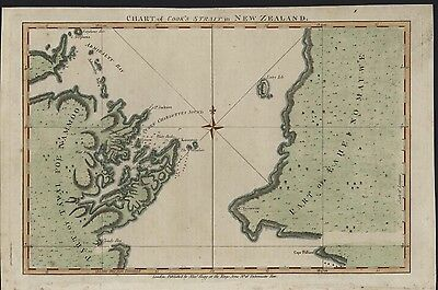 Cook's Strait New Zealand c. 1780 Hogg antique folio engraved hand color map