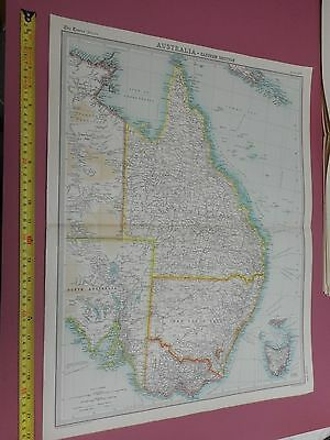 100% Original Eastern Australia Map By  Bartholomew C1896 Vgc Original Colour