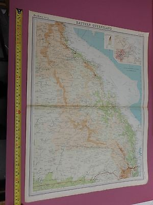 100% Original Eastern Queensland Map By  Bartholomew C1896 Vgc Original Colour