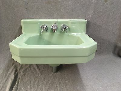 Vtg Mid Century Jadeite Green Porcelain Wall Mount Shelf Back Sink Eljer 249-17E