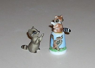Hagen Renaker & Bug House on Painted Thimble Raccoon Miniature Figurines