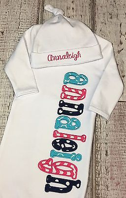 Personalized Baby Girl Layette Gown Set Coming Home Outfit Shower Gift 0-3 Mon