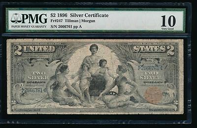 AC Fr 247 1896 $2 Silver Certificate EDUCATIONAL PMG 10