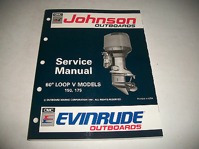1992 Johnson Evinrude 150 175 Outboard Service Shop Manual #508146 Clean