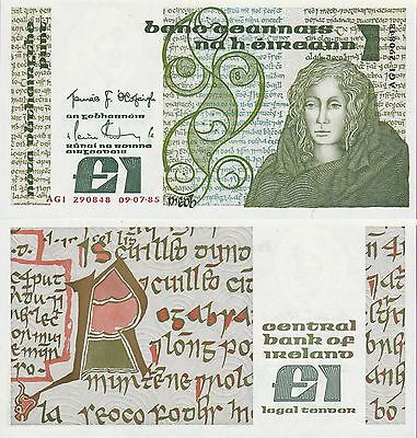 Ireland 1 Pound Banknote,1985 Uncirculated Condition Cat#70-C-0848