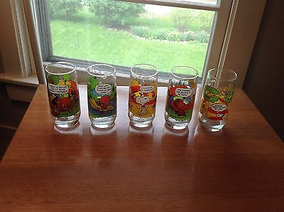 Set Of Five Vintage Mcdonald's Peanuts Camping Snoopy Glasses