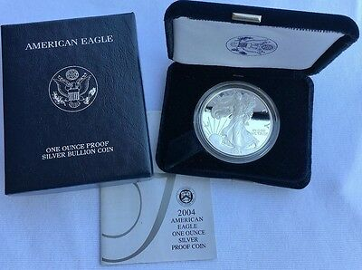 2004 W US Mint American Eagle 1 Ounce Silver Proof Dollar Coin W/Box & COA