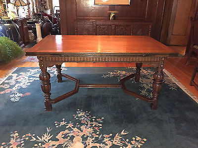 Antique Jacobean/refectory Style 8 Piece Dining Room Set Table 6 Chairs  Buffet