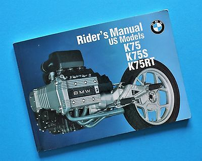 Original Factory 1980's - 90's BMW K75 K75S K75RT Motorcycle Riders Manual Book