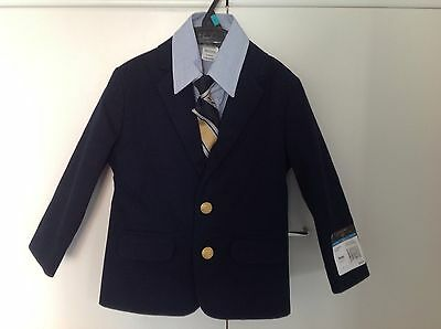 New Dockers 3pc Set Navy Blue Blazer Striped Dress Shirt Coord Tie Boys Sz 4 NWT