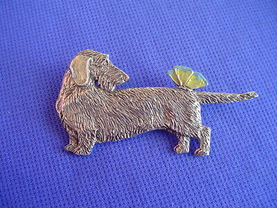 Pewter Dachshund wire haired Butterfly pin #20A dog jewelry by Cindy A. Conter