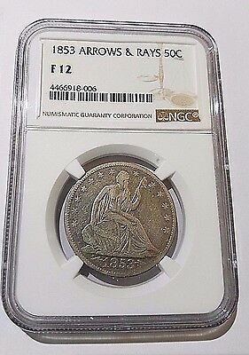 1853 Seated Liberty Half Dollar with Arrows & Rays NGC F12 Free Shipping!