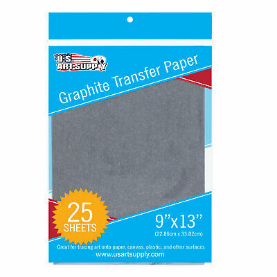 "US Art Supply Graphite Carbon Transfer Paper 9"" x 13"" - 25 Sheets"