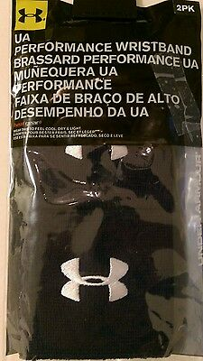 """Mens New 2 Pack Under Armour 3"""" Performance Wristbands One Size Navy Blue 9023"""