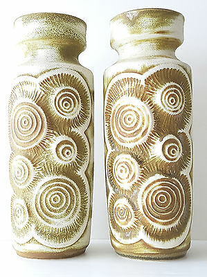 "Pair Of Great Vases 70'S Ceramic ""Bay"" West Germany Model Fossil 1970"
