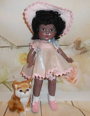 """13"""" PETITE American Character Chocolate AA Composition 30's DOLL in PINK organdy"""