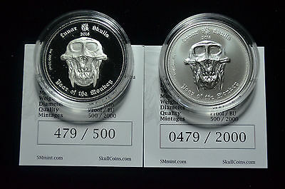 2016 Palau, Year Of The Monkey $5 Lunar Skulls, 999 Silver Matched Bu/proof Pair