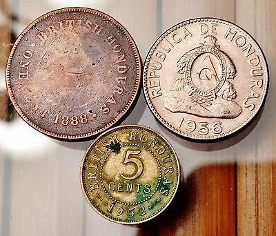 3 Old Honduras Coins - 1888 One Cent, 1952 5 Cents & 1956 10 Centavos