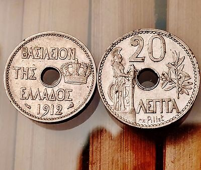 1912 Greece 10 & 20 Lepta Coins - Nice Older Pair of Coins