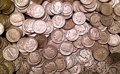 1 Pound (16 Standard Ounces) Silver Dimes 90%. Beautiful Coins 1964 Or Earlier!