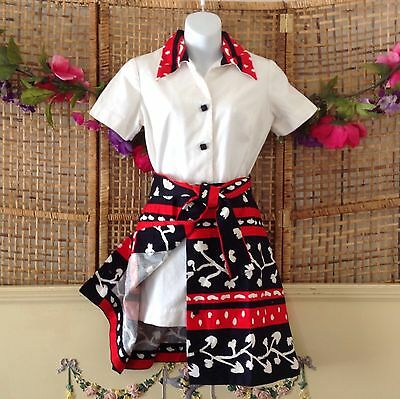 Vintage Tori Richard Romper Shorts Culottes With Button Skirt Navy Red Print M