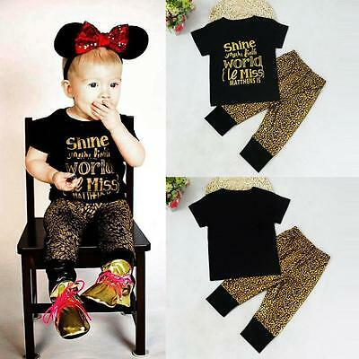 2pcs Newborn Toddler Infant Baby Boy Girl Clothes T-shirt Tops+Pants Outfits CA