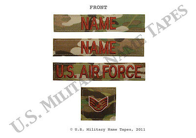 U.S. Air Force OCP Name Tape, Service Tape & Rank Patch Set w/Hook Fastener