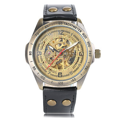 SHENHUA Round Dial Genuine Leather Strap Men Mechanical Wrist Watch Special Gift