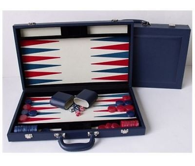 "New Dal Rossi Italy Executive 18"" 45 cm Blue PU Leather Backgammon Board game"