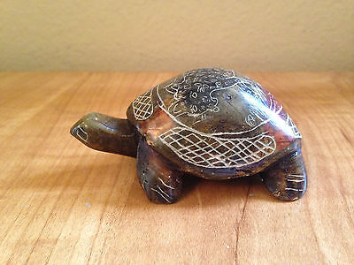 Beautiful Vintage Stone Turtle With Engraving