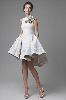 Short Ivory Lace Formal Party Evening Cocktail Ball Bridesmaid Prom Gown Dress