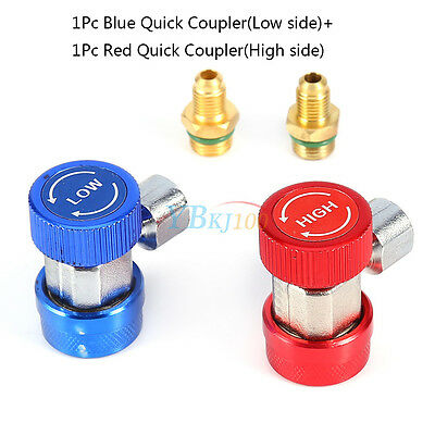 2xA/C Air Condition Quick Coupler Adapter H/L Manifold Gauge Connector R134A Hot