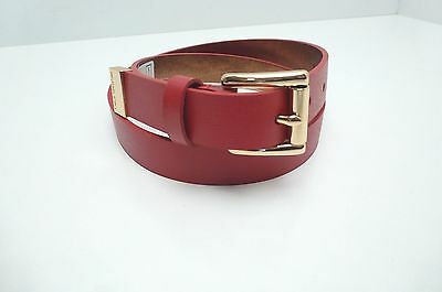 MICHAEL KORS Women's Leather Skinny Belt Red w/ Gold Buckle Sz Small New