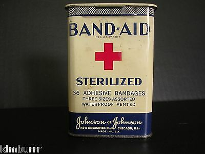 Vintage Band-Aid Tin 36 Sterilized Patents Pending Red Cross Metal Hinged 1930s