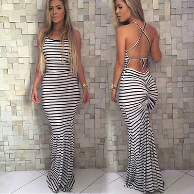 Hot Backlit Sexy Tattoo Women Summer  Fashion Black and White Striped Dress