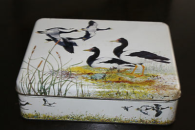 Robin Hill Pied Geese Hinged Lid Collectable Biscuit Tin