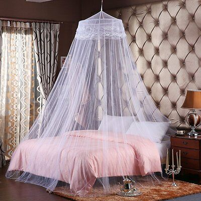 White Canopy Net Bed Curtain Dome Mosquito Insect Round Netting Queen Size