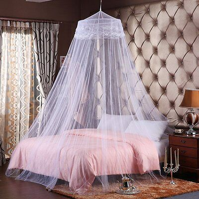 White Canopy Net  Bed Curtain Dome Mosquito Insect Double Single Queen King Size