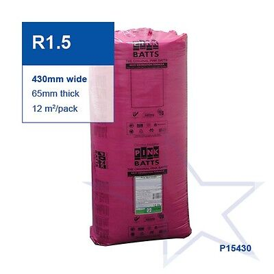 Pink Batts Insulation for Walls R1.5 Fibreglass pk24 430mm wide 12sqm covers 13.