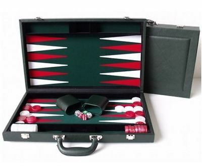 "New Dal Rossi Luxury 15"" 38 cm Green PU Leather Backgammon Board game"