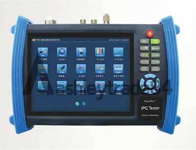 """IPC-8600A 7"""" Touch screen IP 1080p-30fps-AHD Camera Monitor PTZ TESTER 12v-Out"""